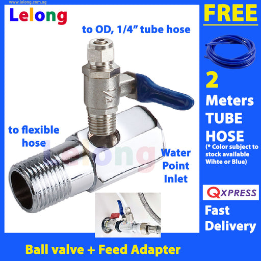 Ball valve adapter Feed Adapter to 1/4 inch tube hose