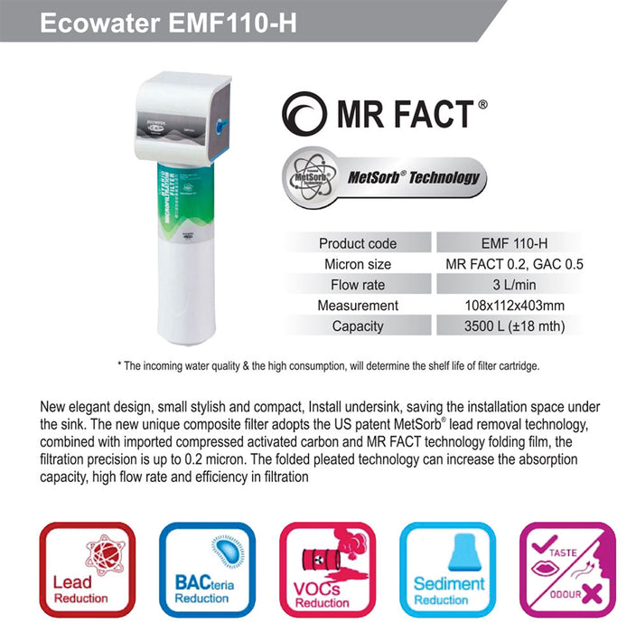 Ecowater EMF110H Metsorb technology + 0.2 micro filtration Water Purifier Antibacterials Heavy Metals Removal, VOC removal, odor taste removal