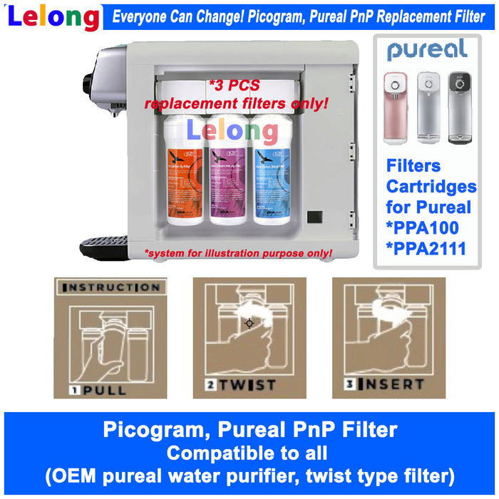 Replacement Filters Cartridges, Korea Picogram, Pureal PPA100, PPA2111 CounterTop Water Purifier, ideal for all OEM Pureal Water Purifier System