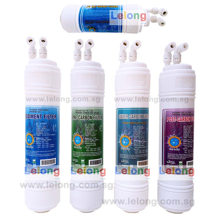 "11"" KOREA 4 STANDARD FILTRATION CARTRIDGE + 9"" PI ENERGY FILTER CARTRIDGE - U TYPE - INLINE - REPLACEMENT CARTRIDGE WATER FILTRATION SYSTEM"