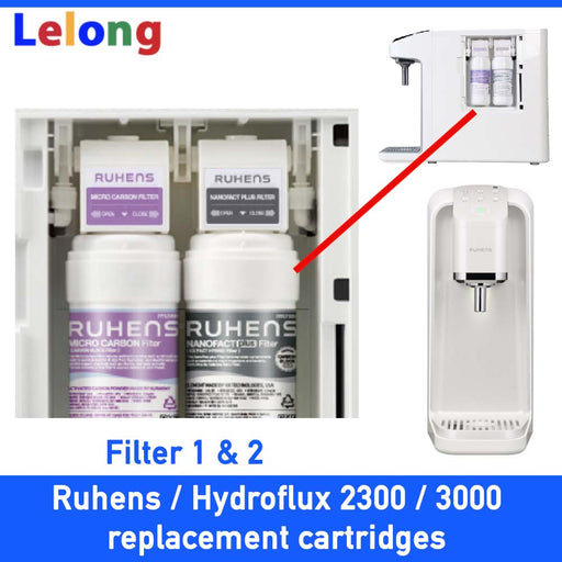 Ruhens v series 3000  & ruhens 2300 & Hydroflux replacement Filter Cartridges Only, Filter 1, 3-in-1 Micro Antioxidants Carbon Filter + Filter 2, NanoFact Filter