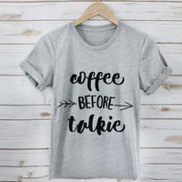 New Summer T Shirt Fashion Women coffee before talkie Letter Printing Loose Top - BADA$$ T-SHIRTS