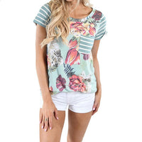 Women Short Sleeve Shirt Floral Printed Casual striped - BADA$$ T-SHIRTS