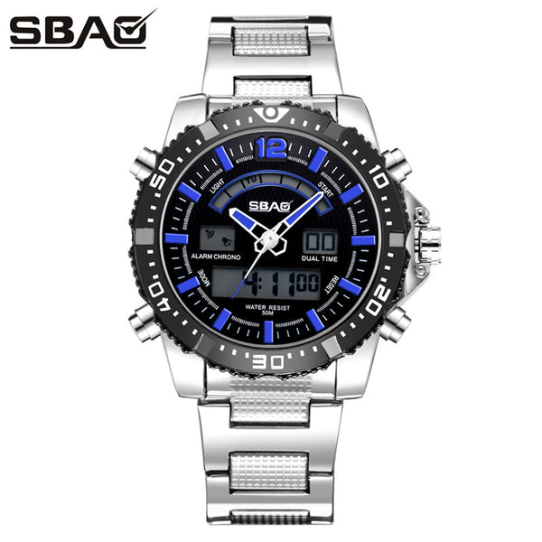 SBAO Double Display Wrist Top Brand Luxury Famous Sport Waterproof Mens Watch - BADA$$ T-SHIRTS