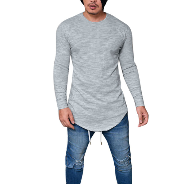 Men Slim Fit O Neck Long Sleeve Muscle Tee T-shirt Casual Tops Blouse - BADA$$ T-SHIRTS