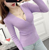 Sexy Knitted Sweater V Neck Cashmere Sweater - BADA$$ T-SHIRTS