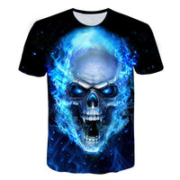 New Fashion Brand T-shirt Men/Women flaming blue skull - BADA$$ T-SHIRTS