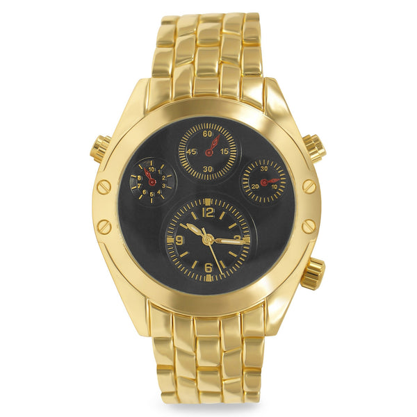 Gold Glossy 4-subdial Executive Classic Mens Watch - BADA$$ T-SHIRTS