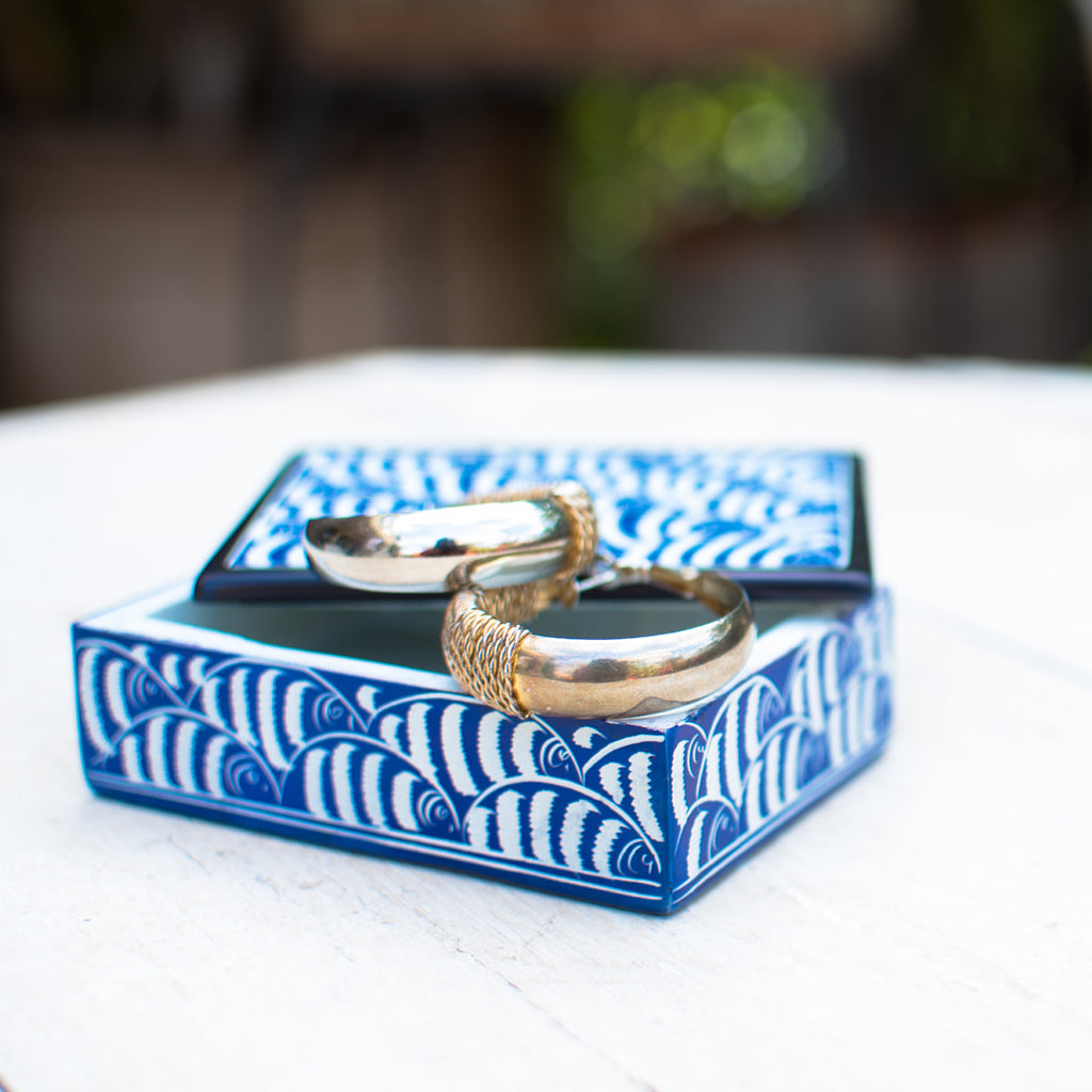 Soapstone Fish Jewellery Box Blue