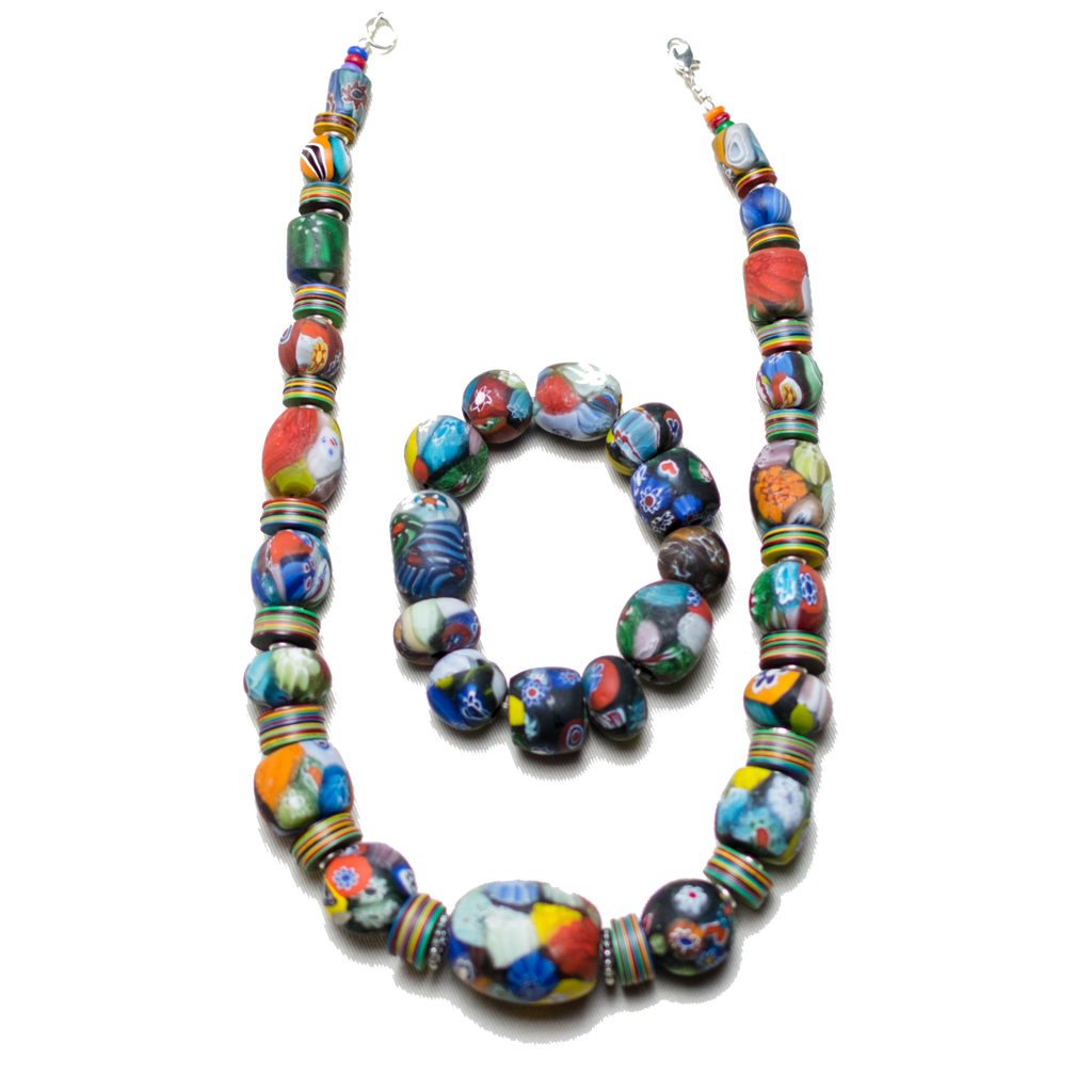 Masaga Glass Beaded necklace & Braclet