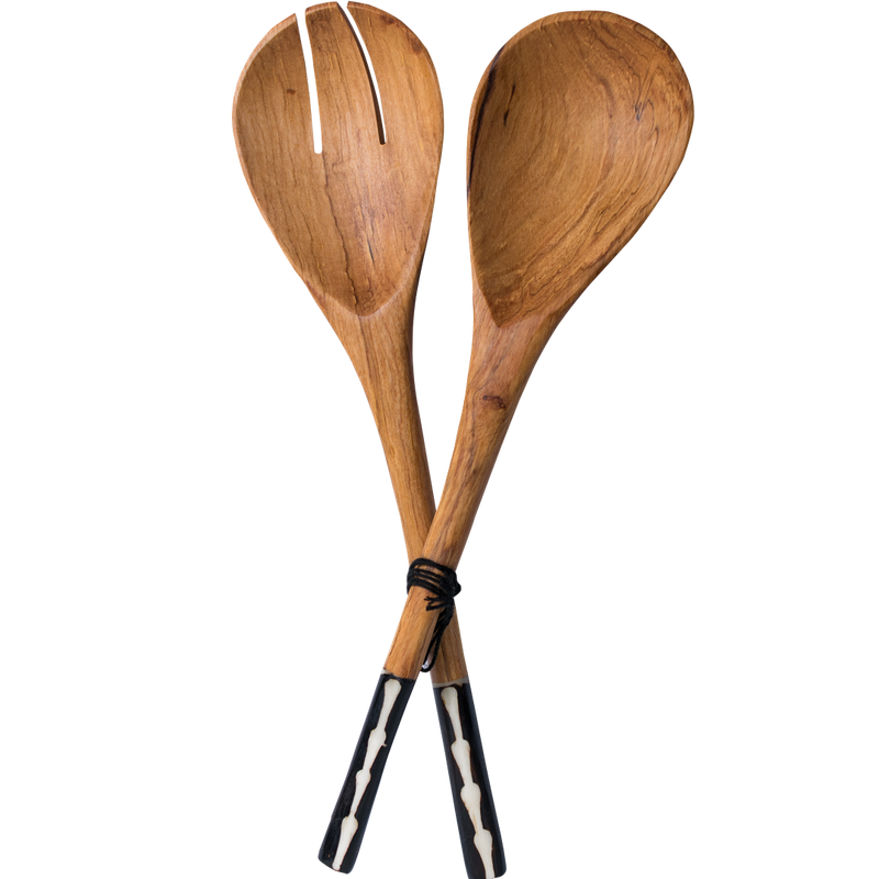 Black Handle Wooden Salad Spoons