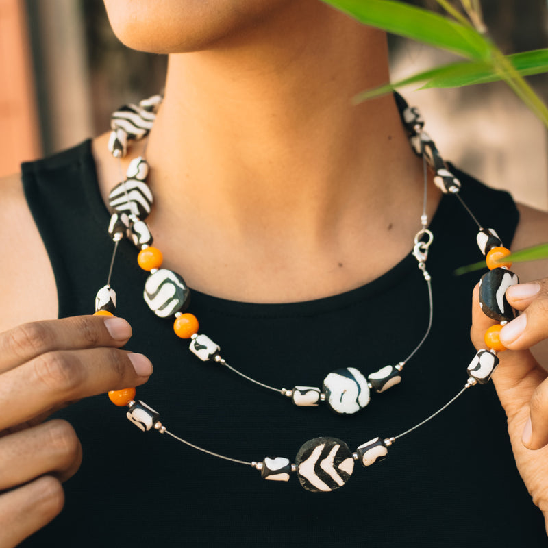 Long Batik and Amber necklace