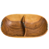 Divided Oval Olive Wooden Bowl
