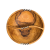 Divided Round Olive Wooden Bowl