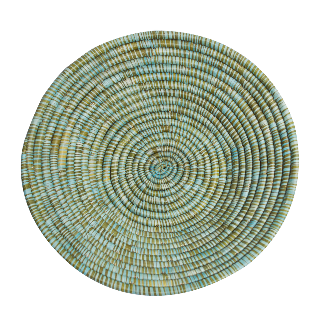 Green/Blue Straw Weaved Basket