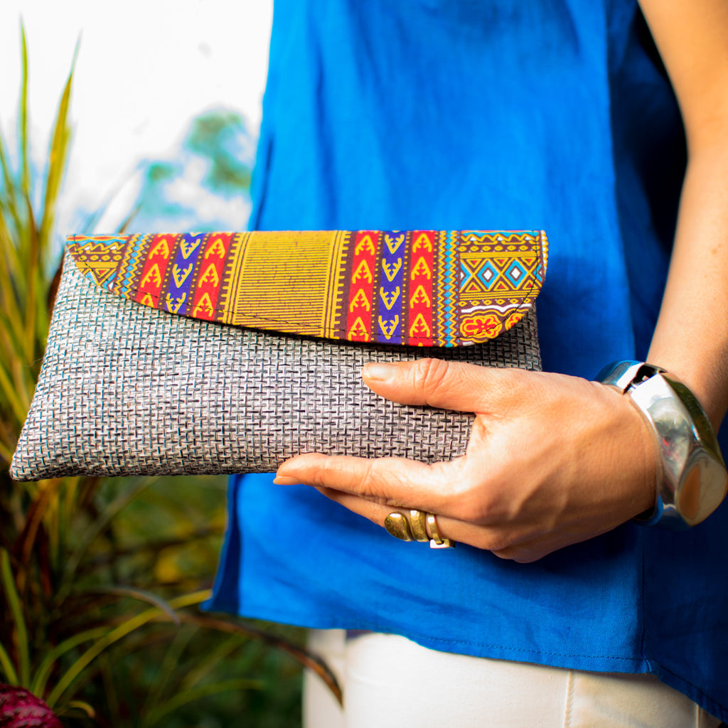 Kitenge Clutch Bag Grey
