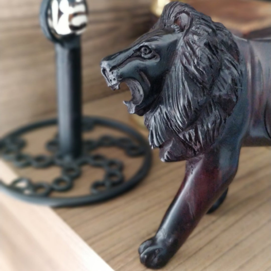 Lion Ebony Wooden Sculpture