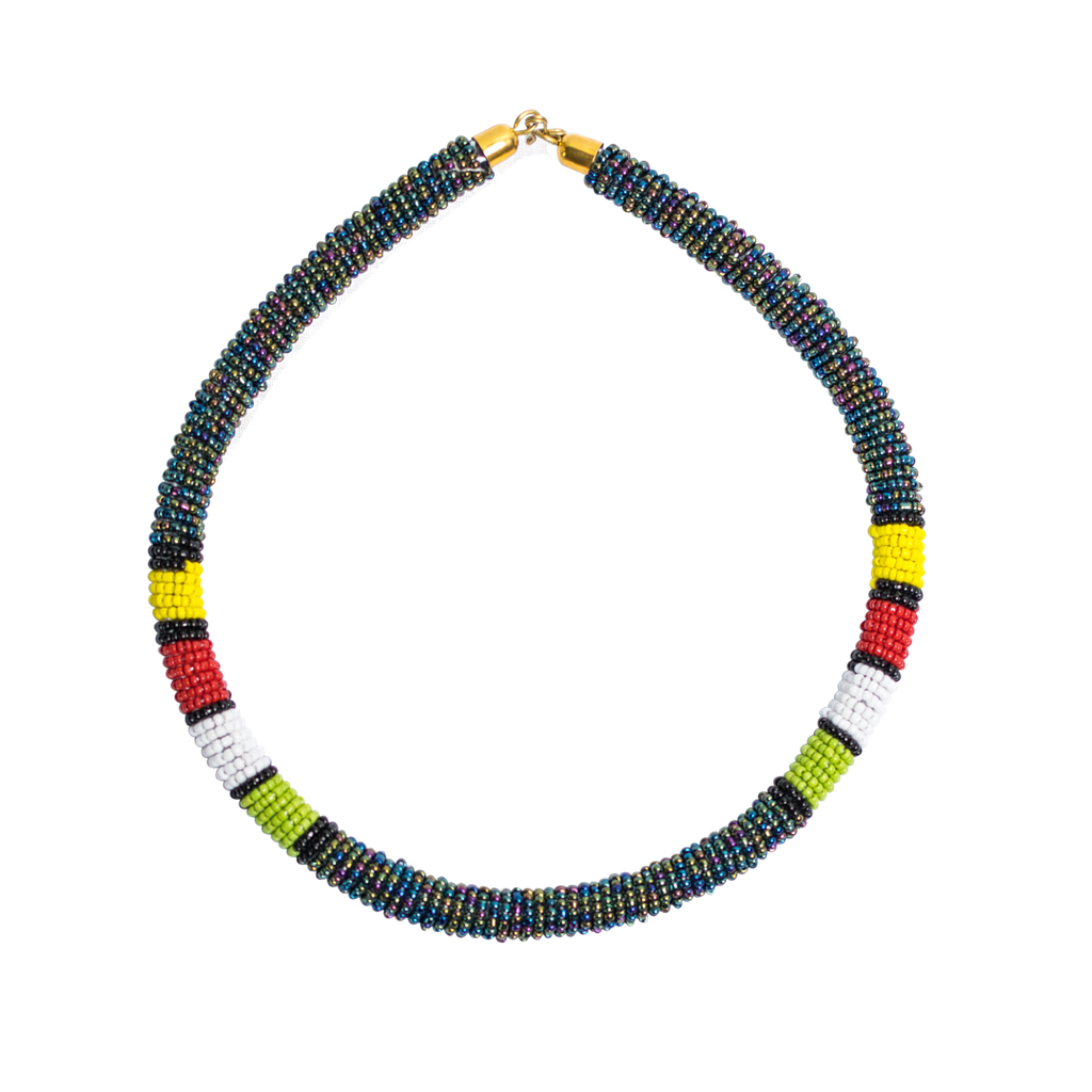 Maasai Beaded Necklaces Metalic