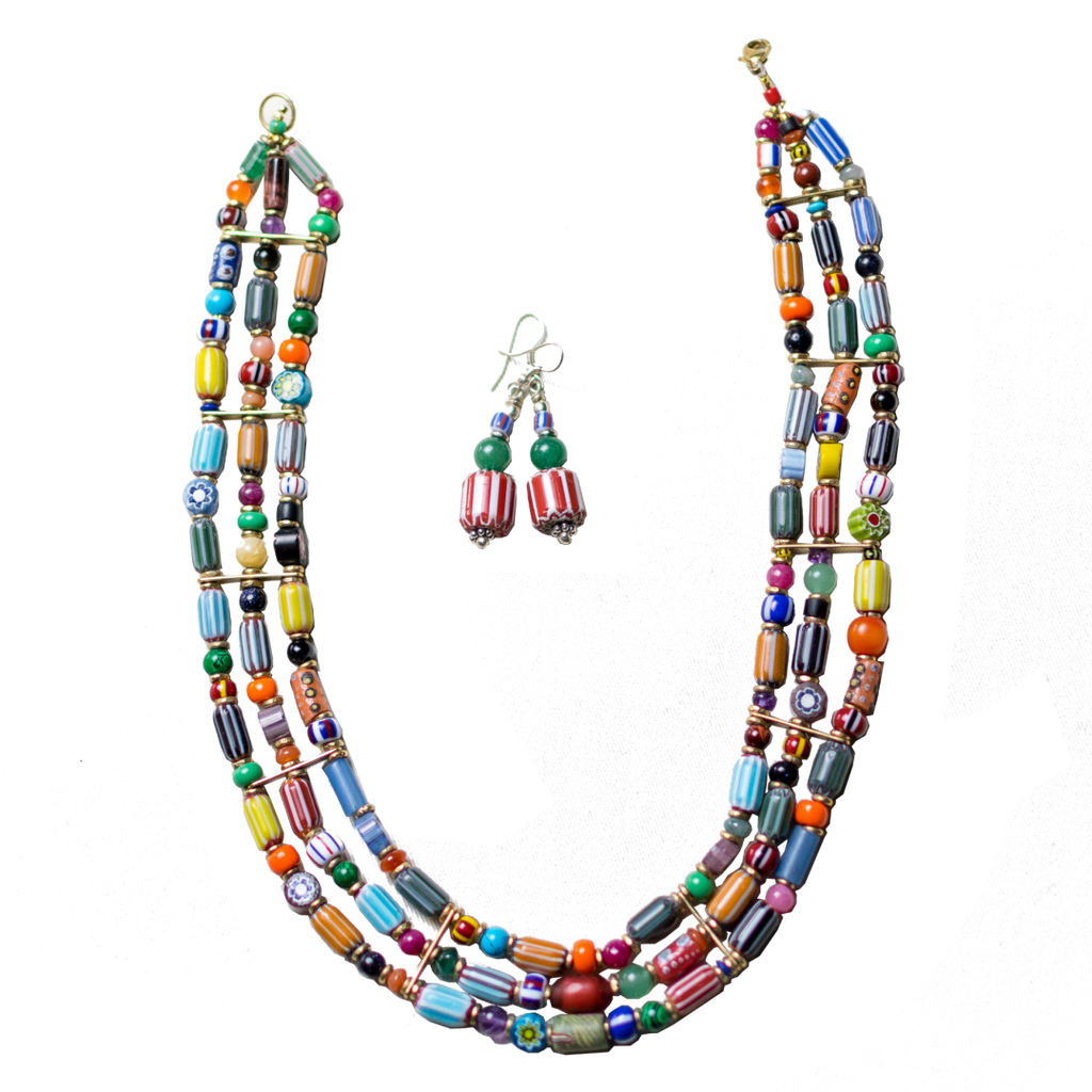 3 Line Mixed Beaded Necklace with eaarings