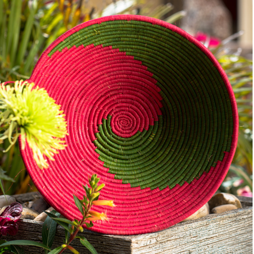 Green/Red Weaved Basket