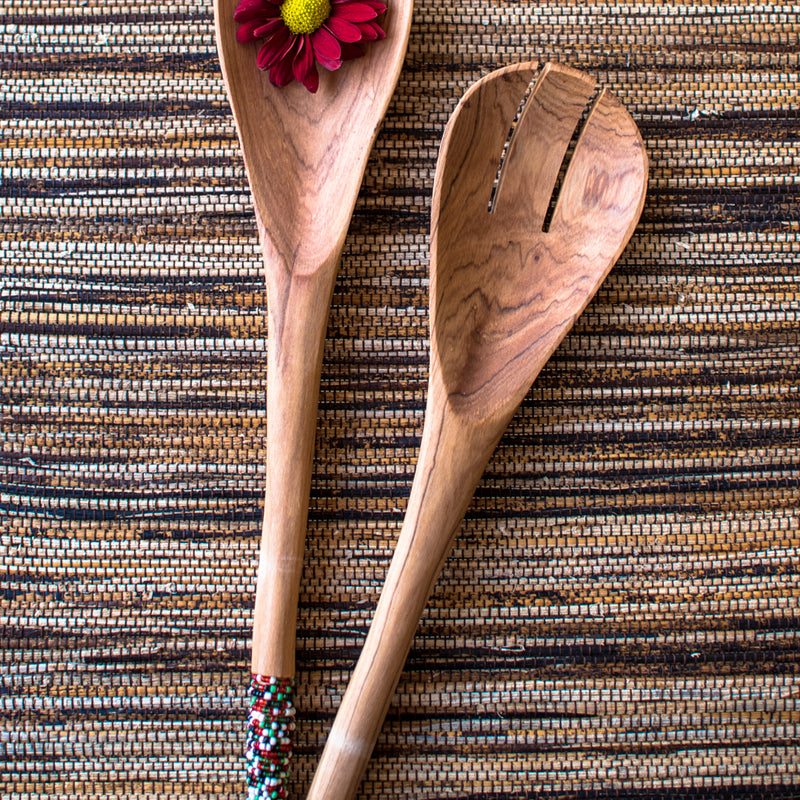 Beaded Salad Spoons - dark colours