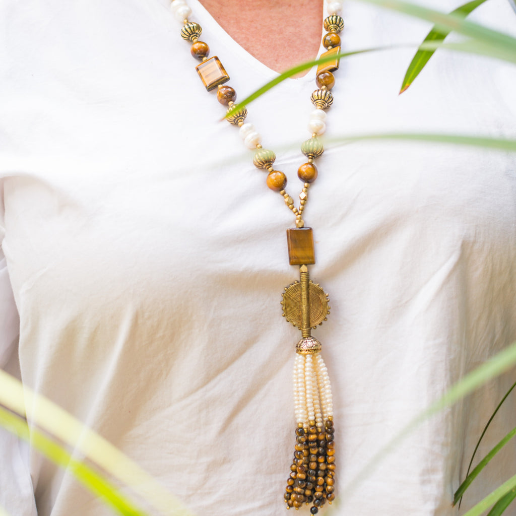 Tiger Eye & Peal Necklace