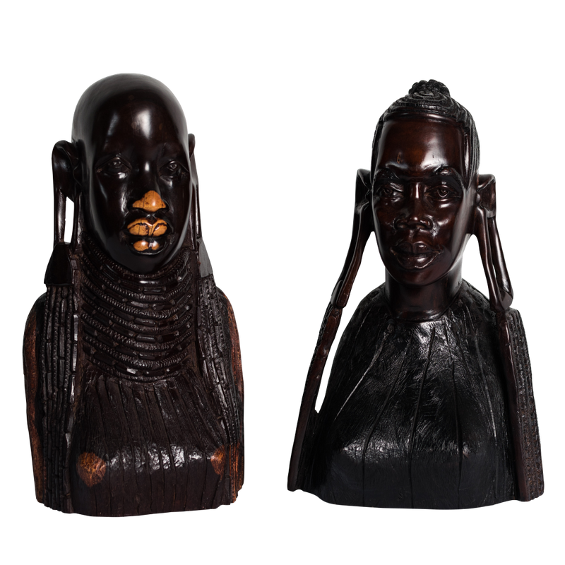 Wooden Ebony Maasai Heads Set