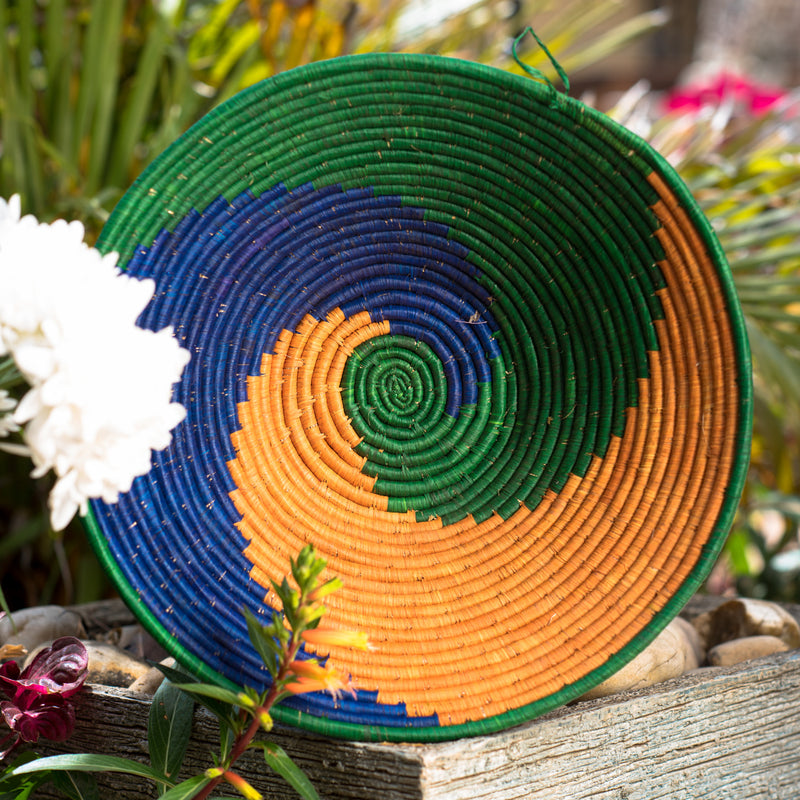 Blue/Green/Orange Weaved Basket