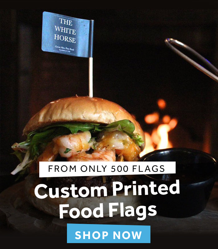 custom printed food flags / burger flags / promotional catering