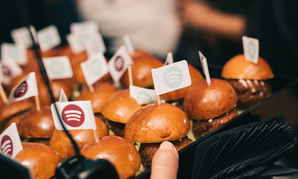 burger flags / branded toothpick flags / personalised food flags for Spotify catering event