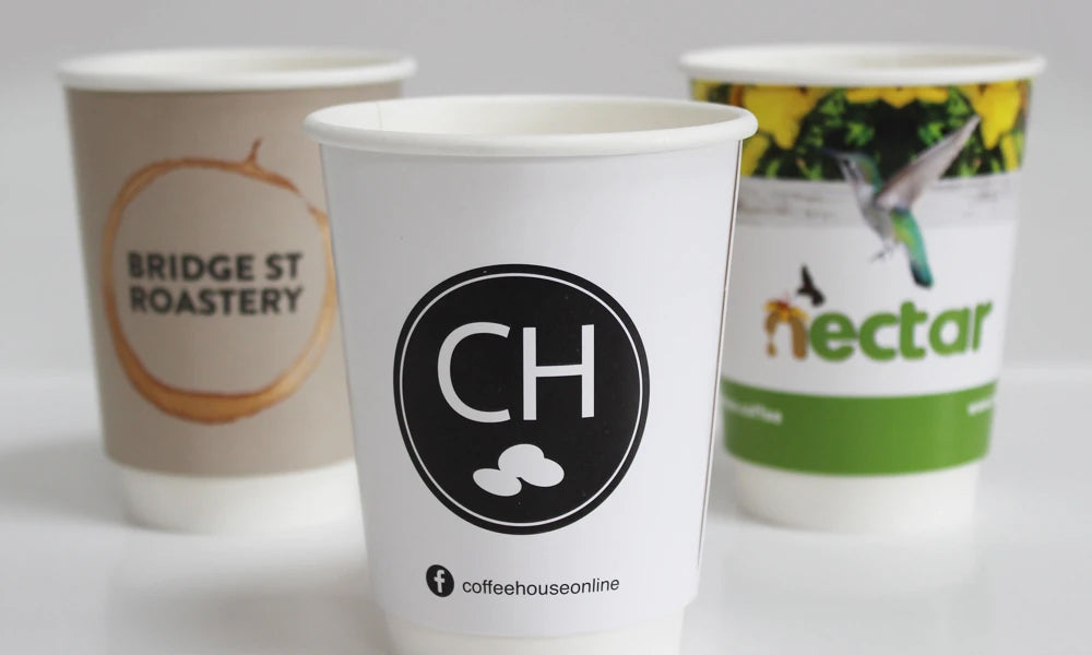 compostable paper cups branded with your logo on