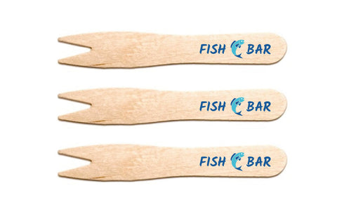 custom printed fish and chip forks - packgenie