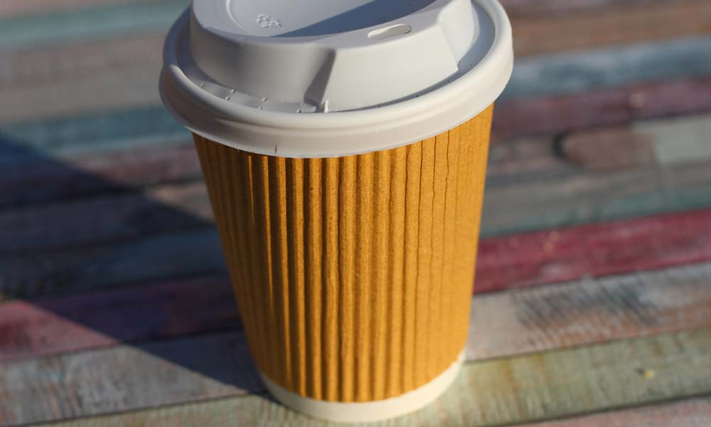 Coffee On The Go Cups. Different Sizes Of Take Away Paper