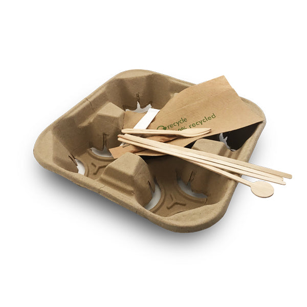 cup carriers and wooden stirrers