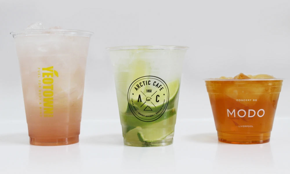 personalised plastic glasses with logo on printed / branded