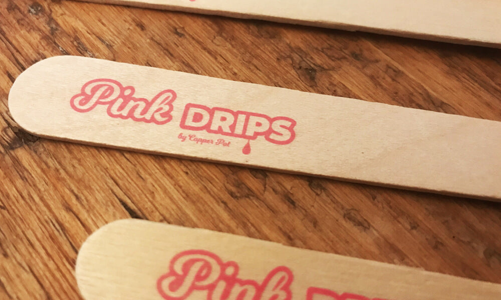 printed wooden cutlery - pink drips