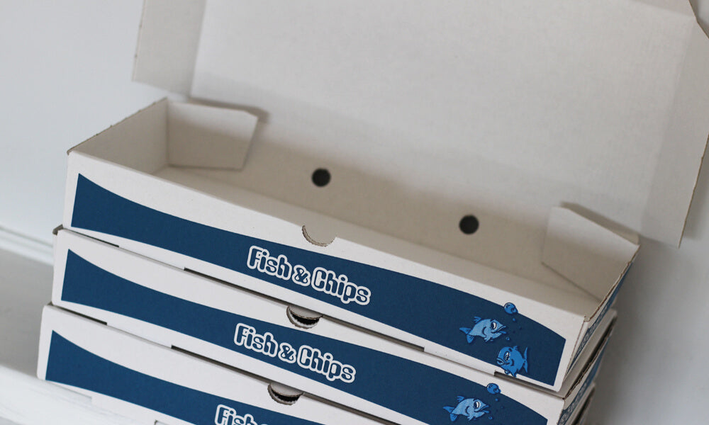 printed fish and chip boxes