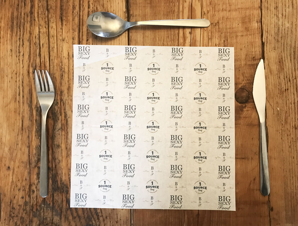 printed greaseproof paper size 250mm x 250mm
