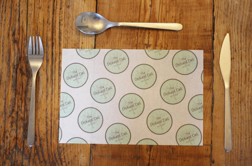 printed greaseproof paper size 250 x 167