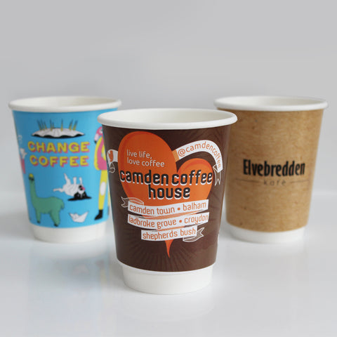 Double Wall Custom Branded Coffee Cups 8oz / 12oz