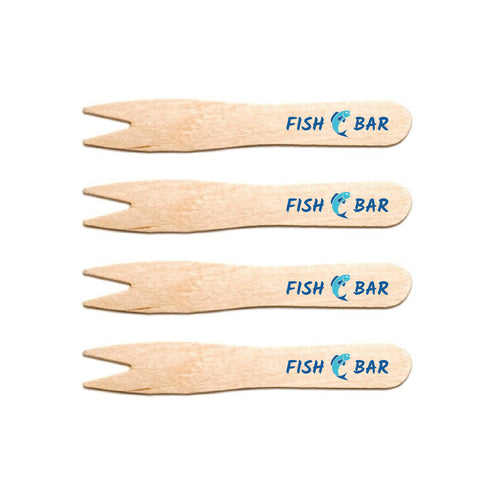 Branded cutlery - disposable wooden chip forks