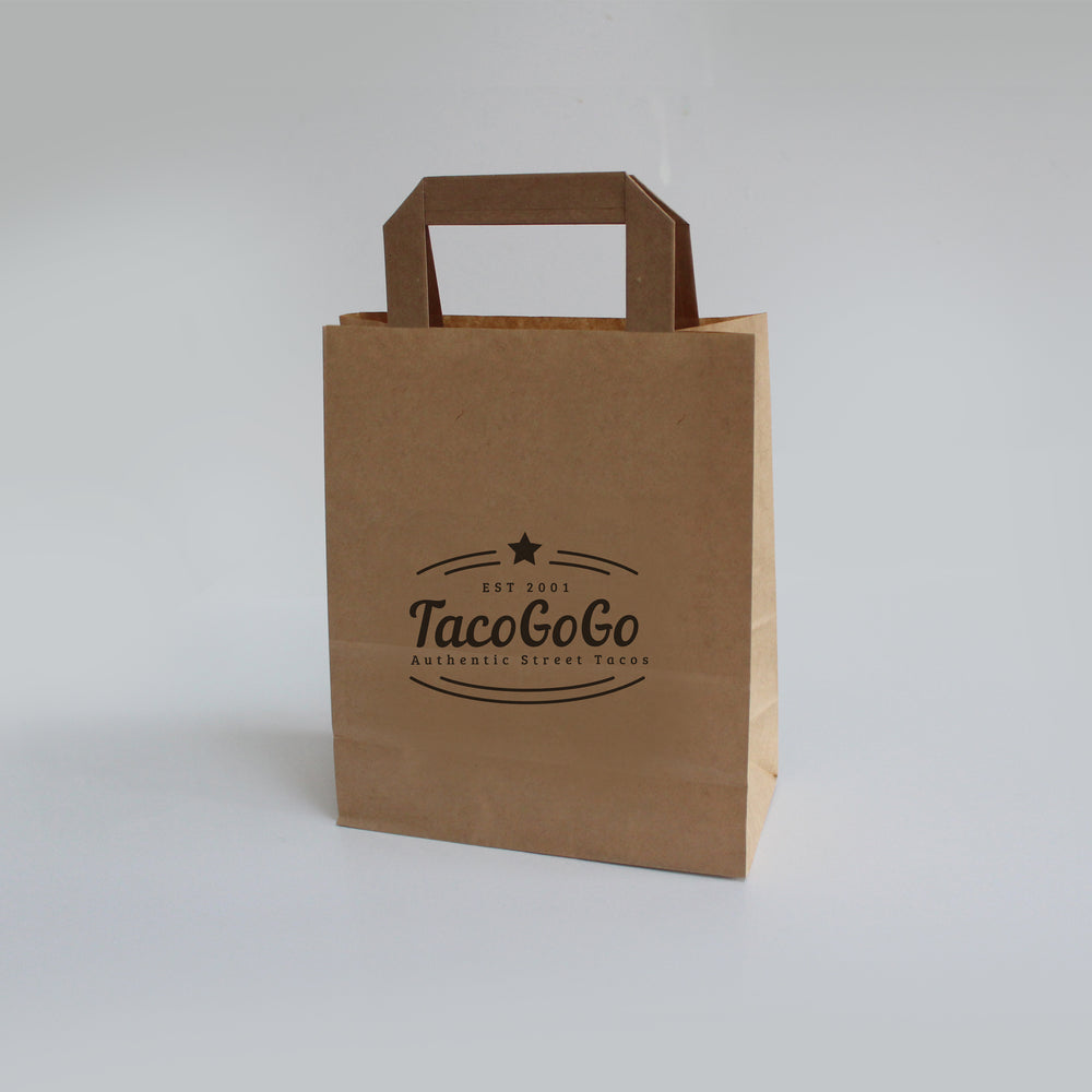 Small brown paper bag printed