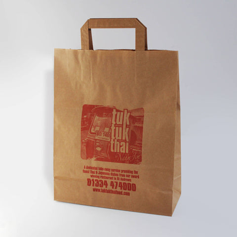 Large Brown Custom Printed Paper Carrier Bags - 1 Colour Print