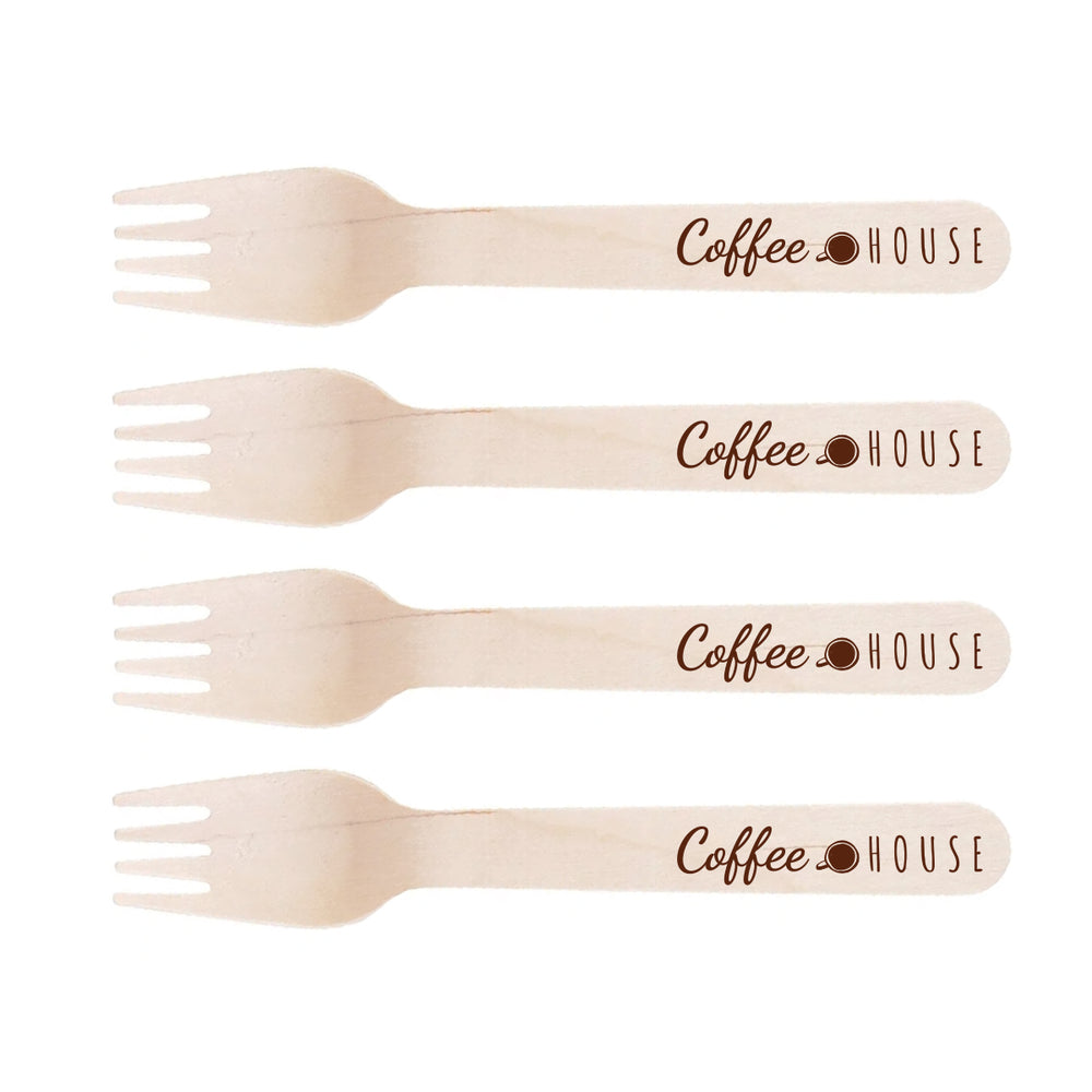 branded-cutlery-disposable-wooden forks - promotional cutlery event / wedding