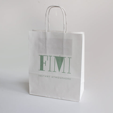 White Luxury Twist Handle Carrier Bags - 1 Colour Print