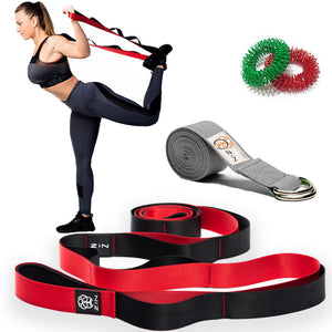 ZIN™ STRETCHING STRAP WITH LOOPS RED and FREE RESISTANCE BAND