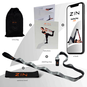 ZIN™ STRETCHING STRAP WITH LOOPS and FREE RESISTANCE BAND
