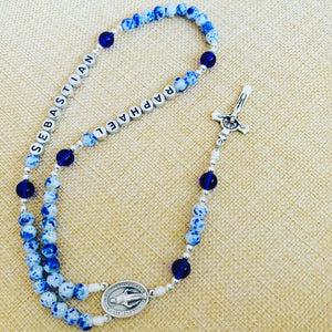 Personalized China Blue Rosary