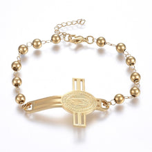 Load image into Gallery viewer, Guadalupe Rosary Bracelet Golden Cross