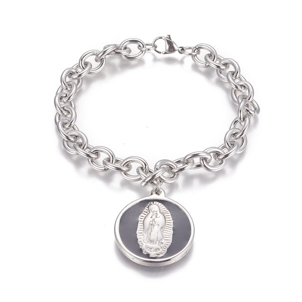 Virgin Mary Pendant Charm Bracelet